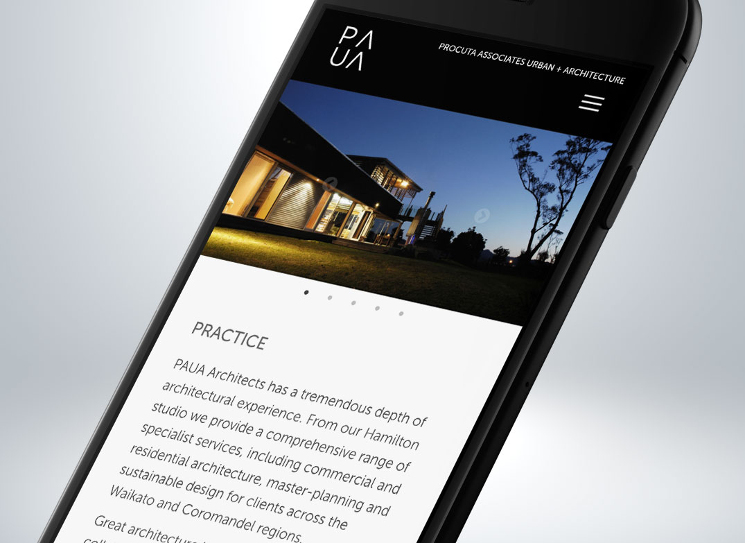 Paua Architects Mobile Website